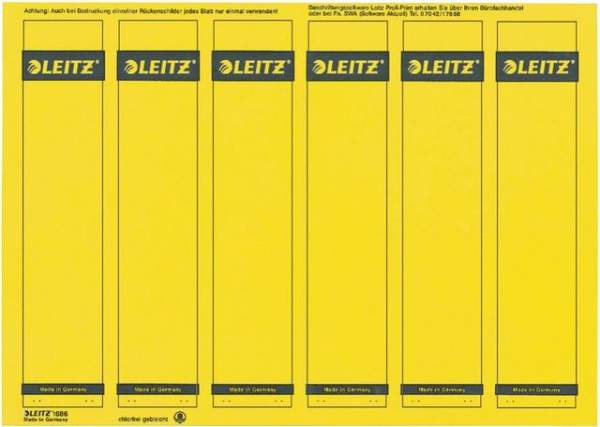 Rückenschilder Leitz 1686 PC-Beschriftung A4 schmal gelb 150Stck.