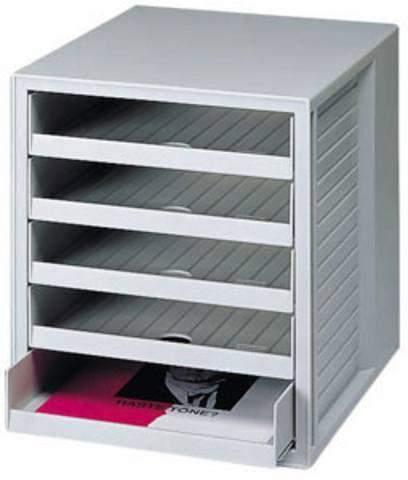Formularkasten HAN 1401 mit 5 offenen Schubladen A4 lichtgrau
