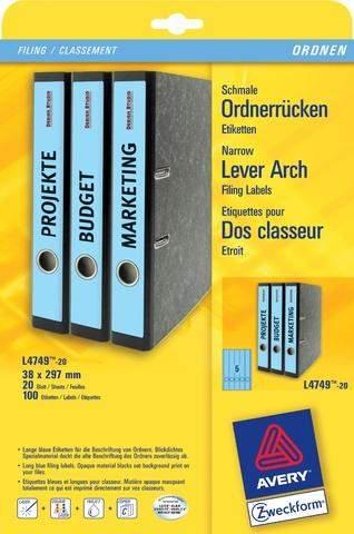 Rückenschilder PC 297x38mm Zweckform 4749 blau Pck=100St.