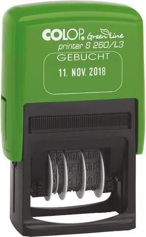 Datum Selbstfärberstempel Green Line GEBUCHT 45x24mm Druckf.:bl/ro