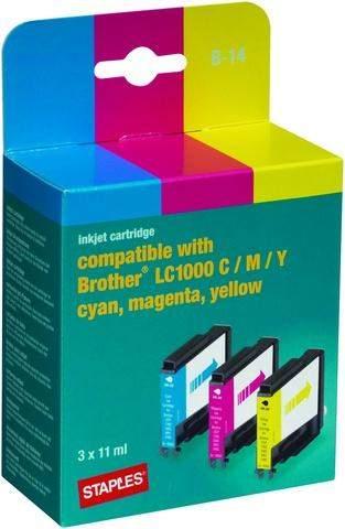 Tintenpatrone für Brother LC1000 cyan magenta gelb Multipack kompatibel