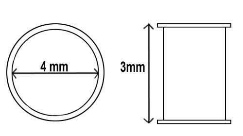 Ösen Nr. 300 3mm lang 4mm Innen-Ø vermessingt VE=1000St.