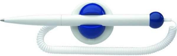 Kugelschreiber mit flexibler Kette und Halter selbstklebend