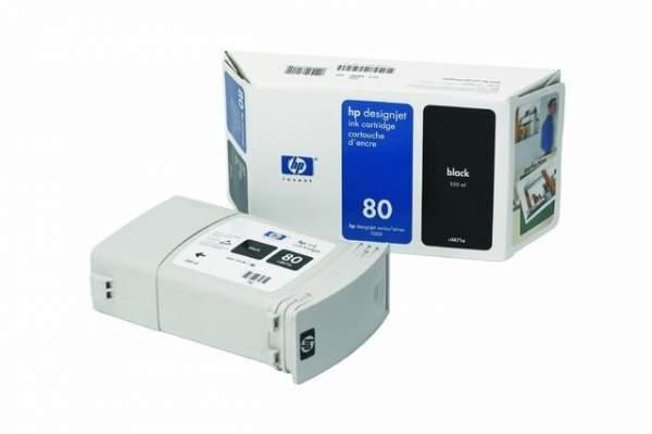 Tintenpatrone HP Nr. 80 C4871AE für Designjet 1050 schwarz 350ml