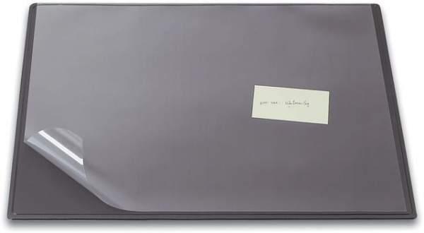 Schreibunterlage 50x63cm Kunststoff mit Vollsichtauflage grau