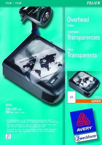Kopierfolie Zweckform 3555 A4 0,1mm klar Pckg.=100Blatt