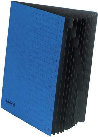 Eckspanner Ordnungsmappe Karton Eckspanngummi A4 12 Fächer blau