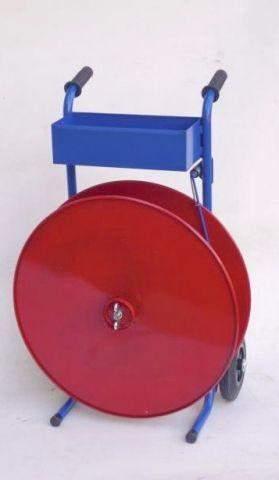 Abrollwagen fahrbar für Kunststoff- und PET- Polyester- Umreifungsbänder mit Kern-Ø 406mm