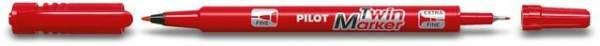 Permanentmarker BEGREEN PILOT Twin Marker Rundspitze 0,3 u. 0,5 mm rot