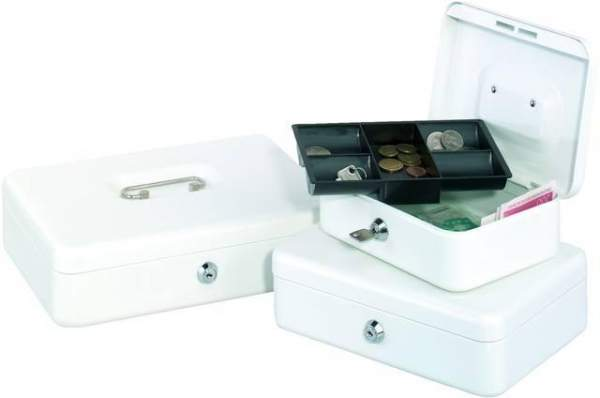 Geldkassette Grösse 3 5 Fächer 25 x 18 x 9 cm weiß (1 Stück)