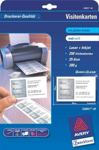 Visitenkarten 85x54mm weiß 200g/m² 1 Pckg. = 25Bl. (250St.)