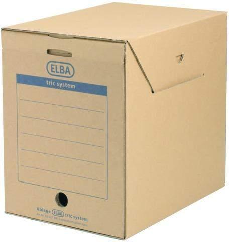 Archivbox Aktenbox Elba tric mit Klappe A4 236x333x308mm naturbraun