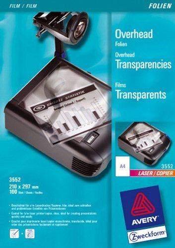Kopierfolie + Laserfolie Zweckform 3552 A4 Overhead Pckg=100 Bl.