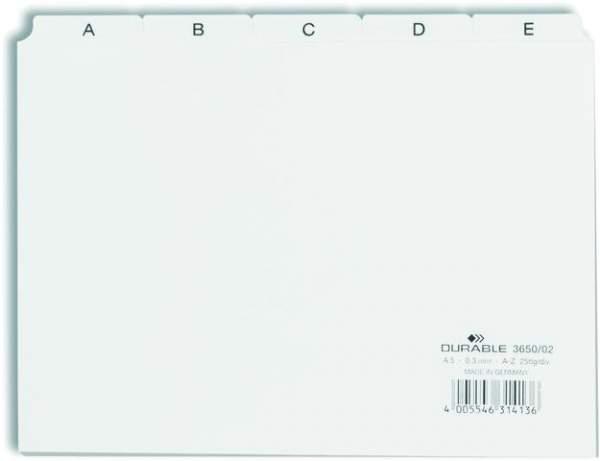 Register für Karteikasten A5 A-Z quer 25-tlg. Kunststoff weiß