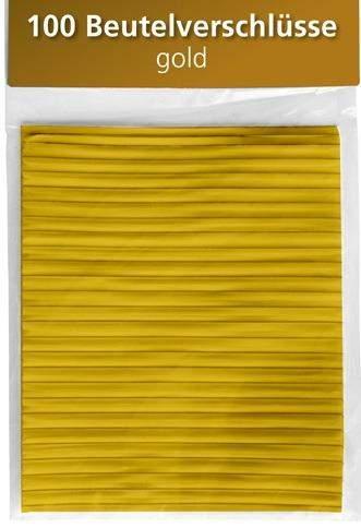 Beutelverschlüsse Länge 8cm gold Pckg. á 100 Stück