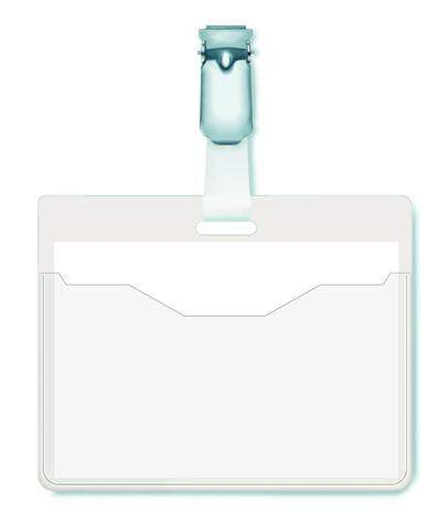 Namensschild 60x90mm mit Clip vorne offen transparent 25 St.