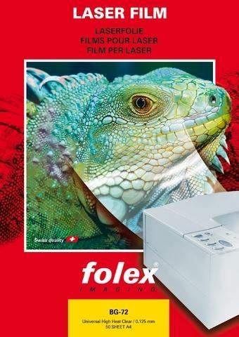 Farblaserfolie Folex BG-72 A4 0,125mm klar beids.beschichtet Schachtel á 50St.