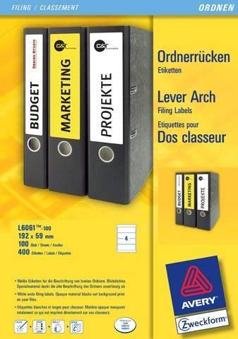 Rückenschilder PC Zweckform 6061 192x59 weiß /Pckg. á 400 St.