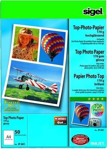 Fotopapier Inkjet-Papier Sigel IP601 A4 170g glossy 50 Blatt