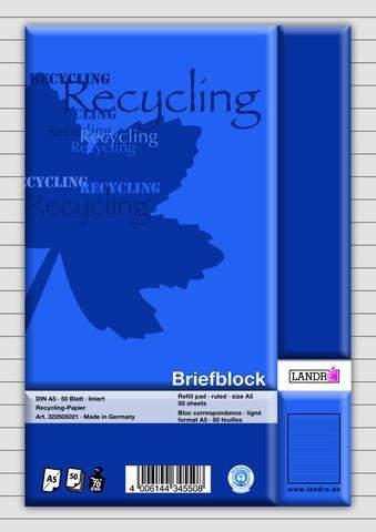 Briefblock A5 liniert 70g/m², RC 50 Blatt recycling