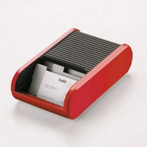 Visitenkartenbox mit Jalousieverschluß PVC Helit rot / 1 St.