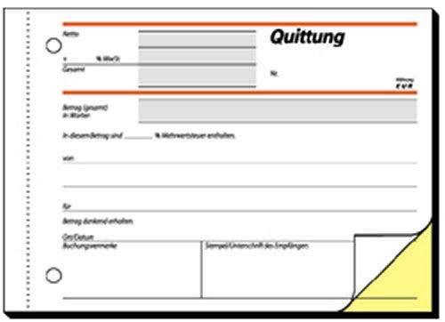 Quittungsblock Sigel SD22 A6 quer 2x40 Blatt m. MwSt.-Nachweis