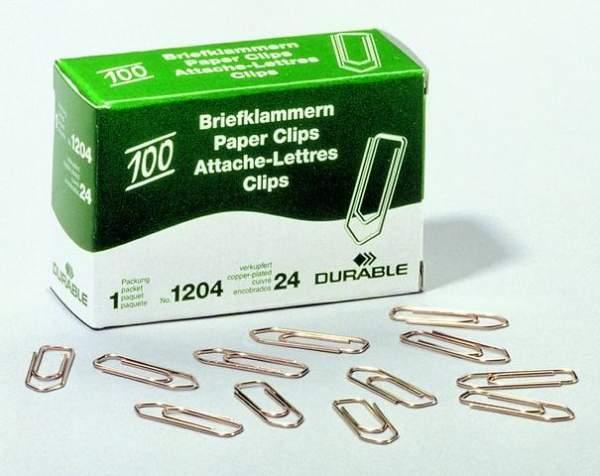 Briefklammern Büroklammern 26mm spitz verkupfert (100 Stück)