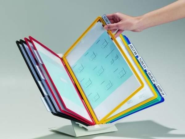 Sichttafelständer DURABLE VARIO® pro 10 für 10 Sichttafeln A4 gefüllt