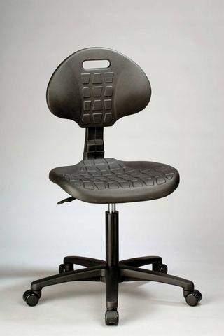 Arbeitsstuhl niedrig Kunststofflehne schwarz ohne Armlehnen