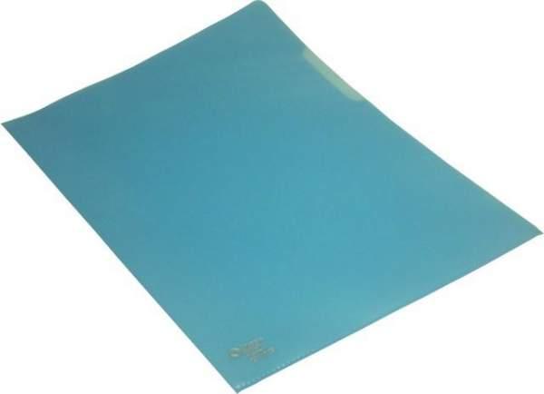 Sichthüllen A4 120 mµ genarbt oben + rechts offen blau 100 Stück