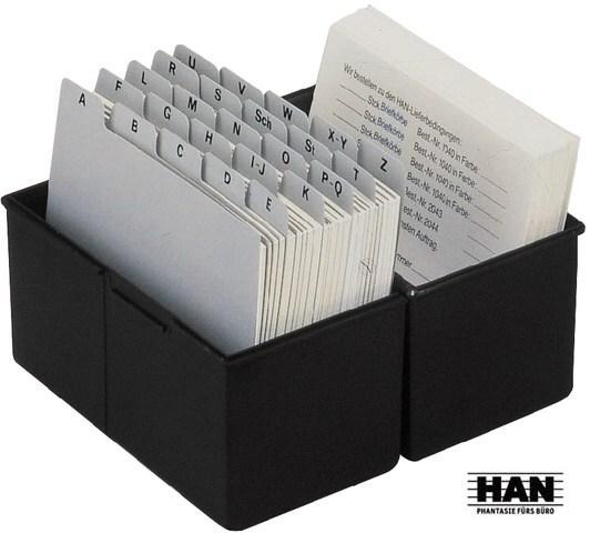 HAN Karteitrog A4 quer für 1.300 Karten lichtgrau Karteitrog Karteikartenbox