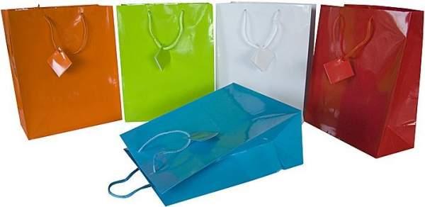 Geschenktaschen Tragetaschen Papier 32,5x26x12,5 cm farbig sortiert 10 Stück