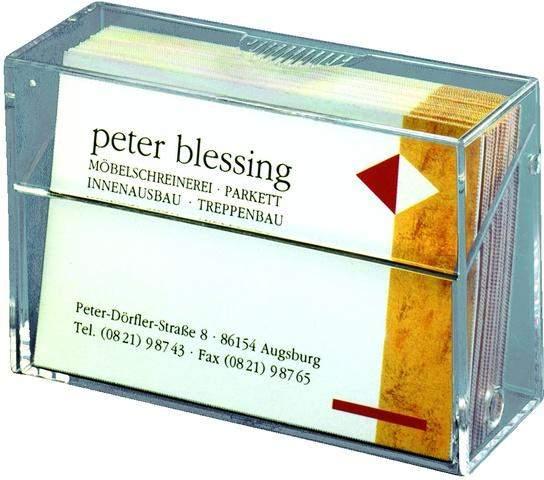 Visitenkartenbox Visitenkartenspender 92x30x59mm glasklar transparent