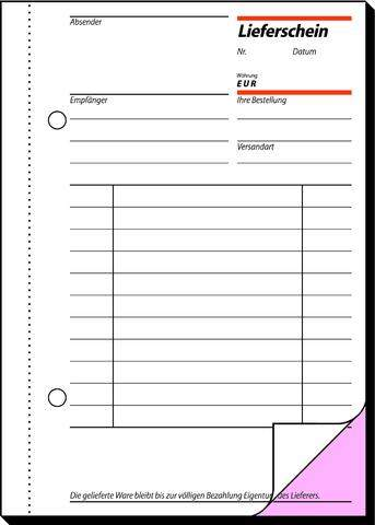 Lieferscheinbuch A6 2x50 Blatt 2-fach bedruckt Blaupapier Sigel