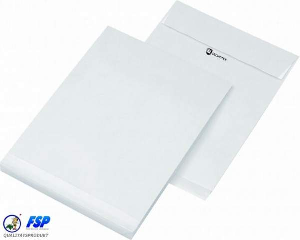 Weiße DIN C4 229x324mm Sicherheitstasche ohne Fenster hk (100 Stück)