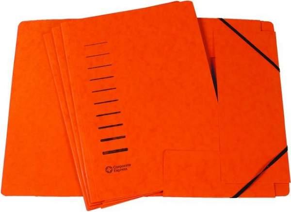 Eckspanner Sammelmappe 3 Klappen A4 Karton 325g/m² orange