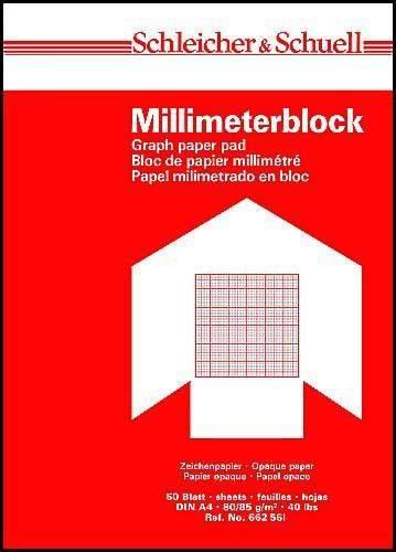 Millimeterpapier DIN A4 50 Blatt 80g/m² weiß Druck rot (1 Block