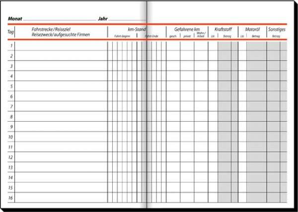 Fahrtenbuch für PKW + LKW A5 hoch 32 Blatt Sigel 514