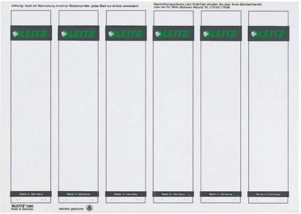 Rückenschilder Leitz 1686 PC-Beschriftung A4 schmal grau 150Stck.