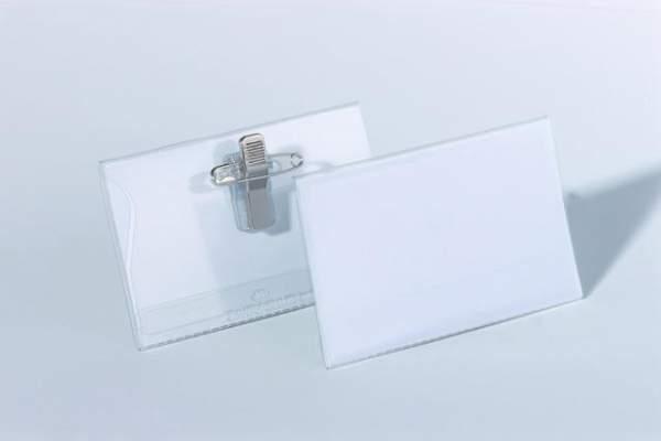 Namensschild 54x90mm mit Kombiklemme Packung = 50 Stück