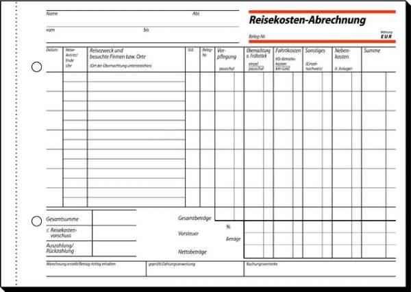Reisekostenabrechnung Sigel 517 wöchentlichA5 quer 1fach 50Bl.