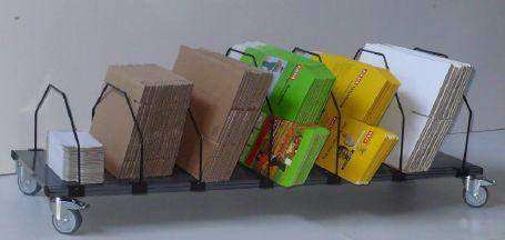Kartonmagazin 6 Fächer mit Rollen fahrbares Regal für Kartons ohne Transportgriff