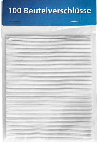 Beutelverschlüsse Länge 8cm weiß Pckg. á 100 Stück