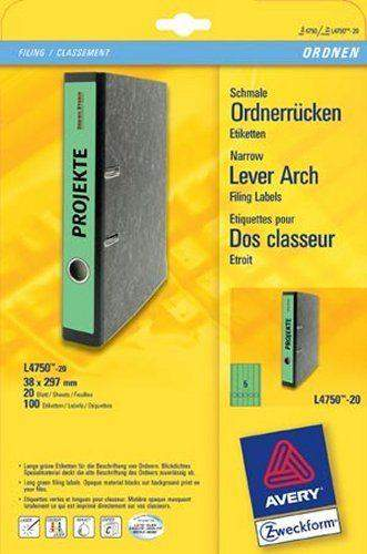 Rückenschilder PC 297x38mm Zweckform grün Pckg=200St.