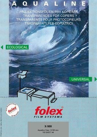 Kopierfolie FOLEX X-500 AQUALINE A4 0,1mm, klar Schachtel á 100 Blatt