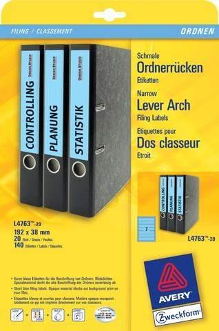 Rückenschilder PC Zweckform 4763 192x38 blau Pckg. á 140 St.