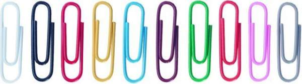 Büroklammern Metall kunststoffummantelt 26mm farbig sortiert 100St.