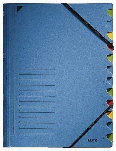 Ordnungsmappe Leitz 3912 A4 12 Fächer Eckspanner 450g blau 1S