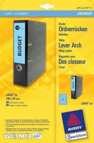 Rückenschilder PC Zweckform 4767 192x61 blau /Pckg. á 80 St.