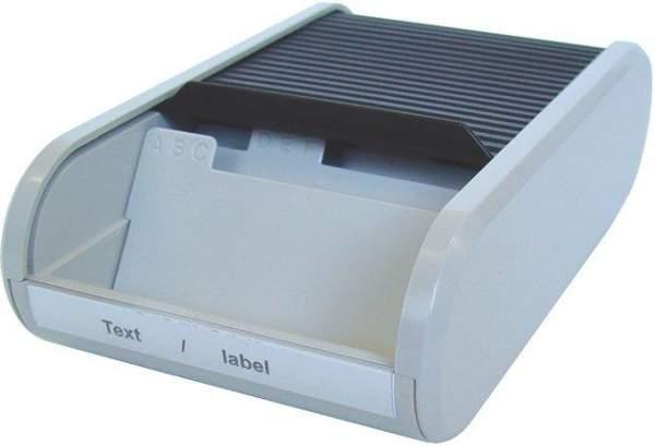 Visitenkartenbox mit Jalousieverschluß PVC Helit grau schwarz /1 St.
